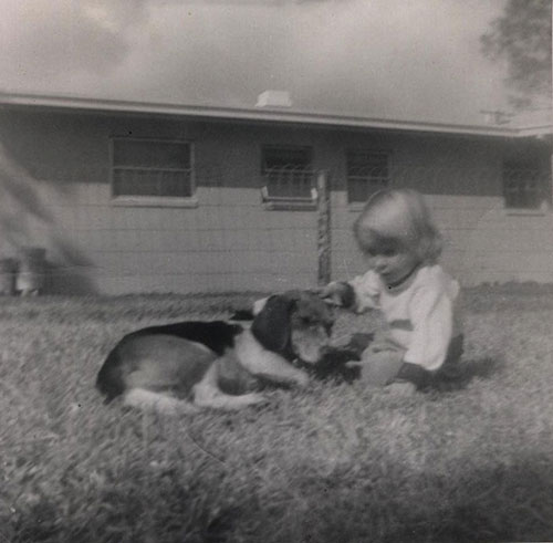 Bobbie Pyron and dog, Puck